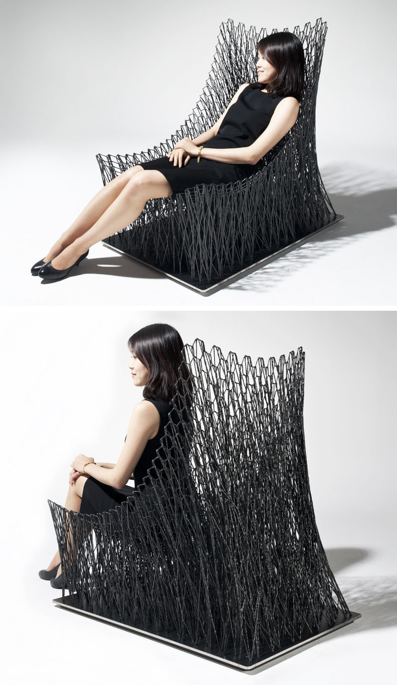 Furniture Ideas - 28 Accent Chairs For A Dramatic Living Room // Carbon fibre string was handwoven to create this industrial looking armchair.
