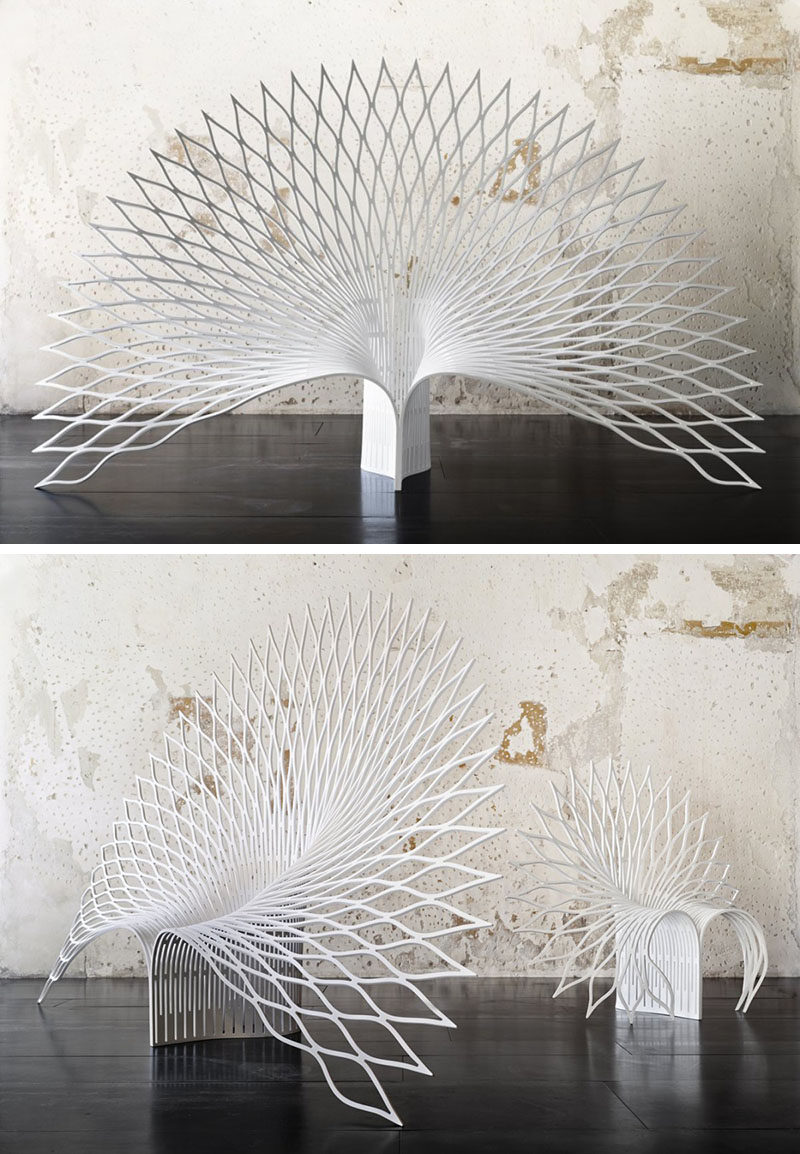 Furniture Ideas - 28 Accent Chairs For A Dramatic Living Room // A sheet of acrylic composite was manipulated to create these unique chairs inspired by the opening of flower or the fanning of a peacock's tail feathers.