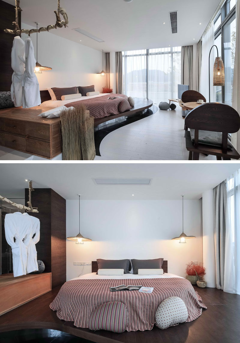 Hotel Room Design Ideas To Use In Your Own Bedroom // Put your bed on a platform to highlight it in the room.