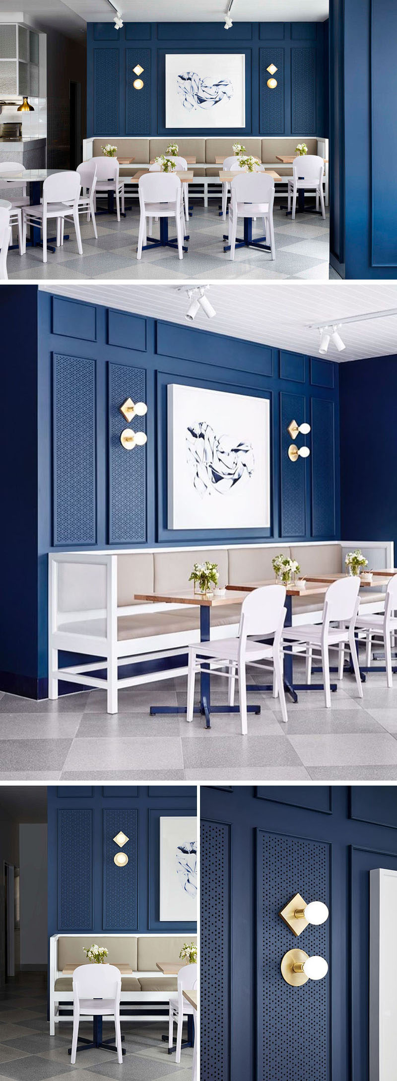 Artwork above the banquette seating in this cafe has been perfectly framed with moulding and lighting.
