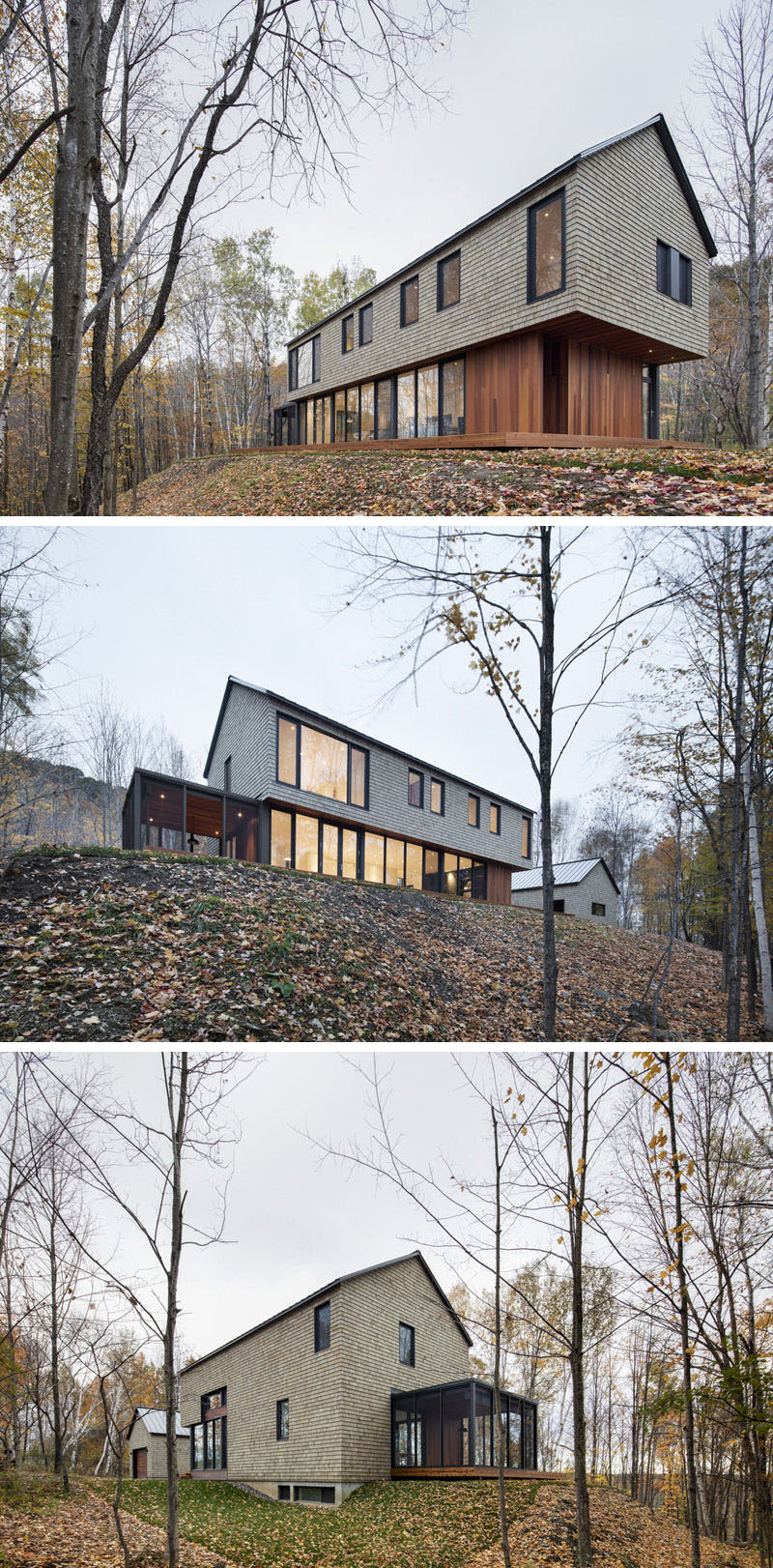 18 Modern House In The Forest // Wood shingles and wood paneling help this house fit right in with the forest surrounding it, while large windows provide views of the ever changing landscape.