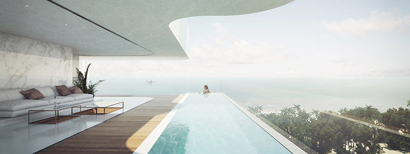 This concept design for a swimming pool in a residential building cantilevers out away from the building.