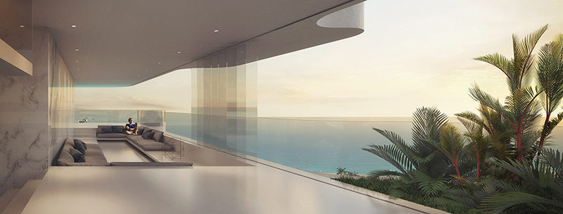 This concept design for a residential building includes sunken living rooms that can be opened for indoor/outdoor living.