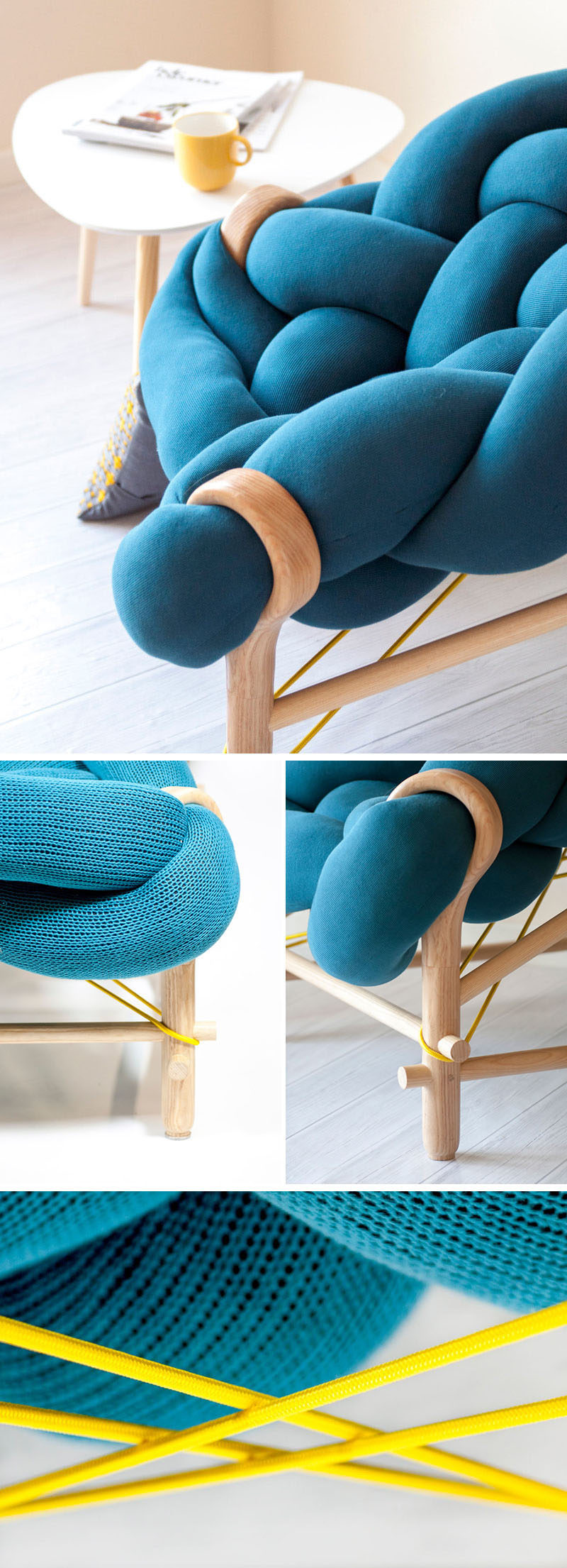 The design of this chair combines traditional techniques like weaving with modern day design to create playful and bold designs.