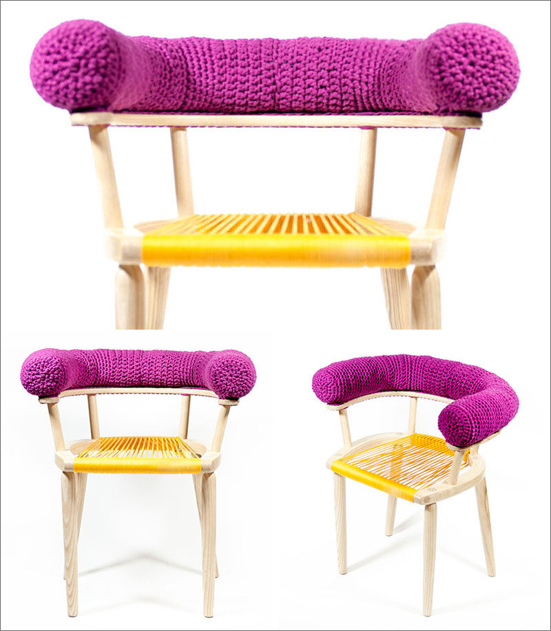 In this armchair design, crochet has been used to create the upper cushion that sits on the armrest. For the seat of the chair, yellow yarn has been wrapped around the wooden chair frame.