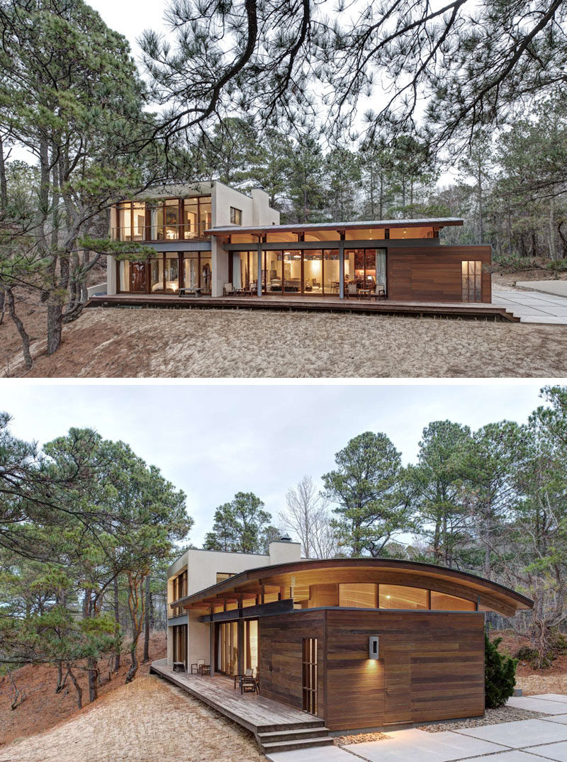 18 Modern House In The Forest // This secluded house makes the most of the surrounding forest and captures the views of the nearby bay.