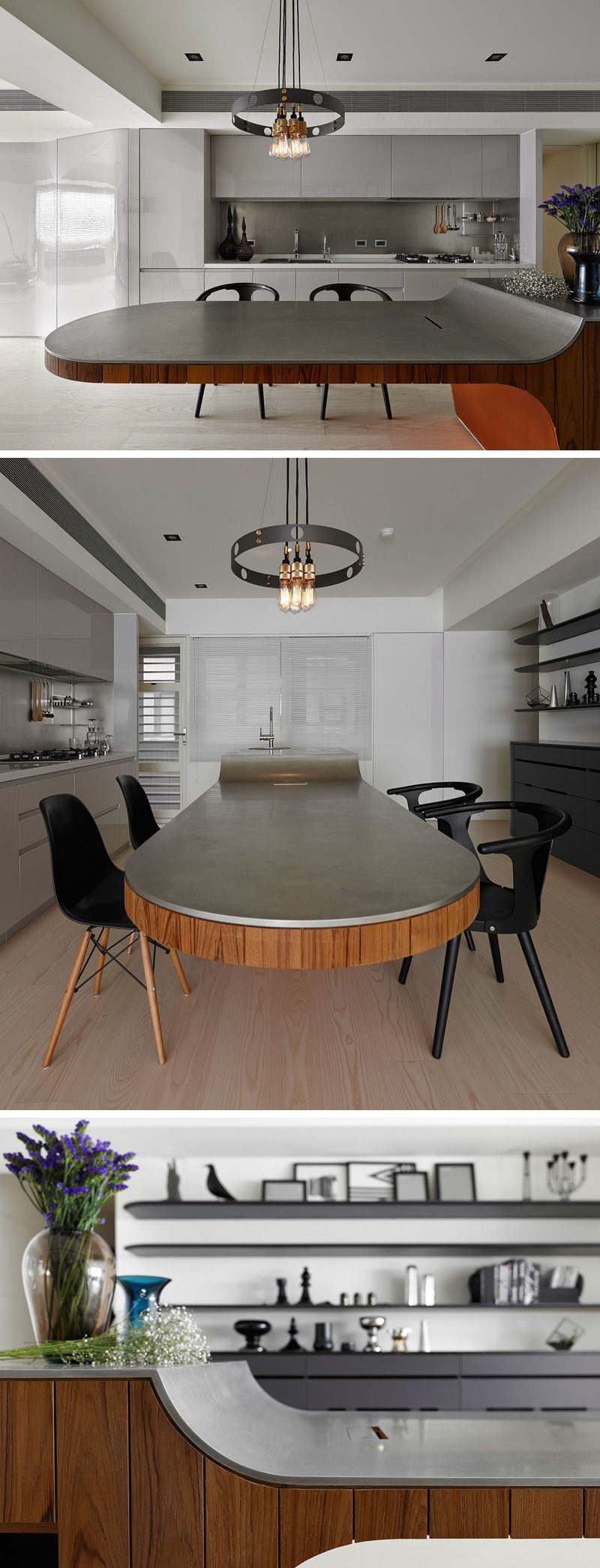 11 Creative Concrete Countertop Designs To Inspire You // A thin layer of concrete covers this wood island, before curving down and cantilevering away from the kitchen island. The extended concrete countertop also becomes a place for serving meals.