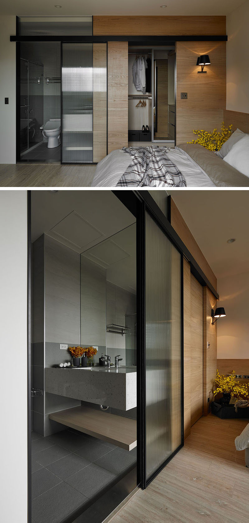 This ensuite-bathroom has a glass door to let natural light through to the bathroom.