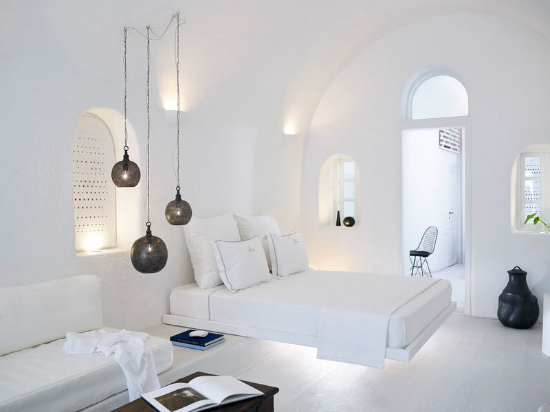Hotel Room Design Ideas To Use In Your Own Bedroom // Create the illusion of a floating bed.