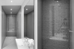 Ванная Комната Идеи Дизайна – Использовать Стекло, Чтобы Покрыть Оригинальную Кирпичную Стену И Сделать Ее Характеристика