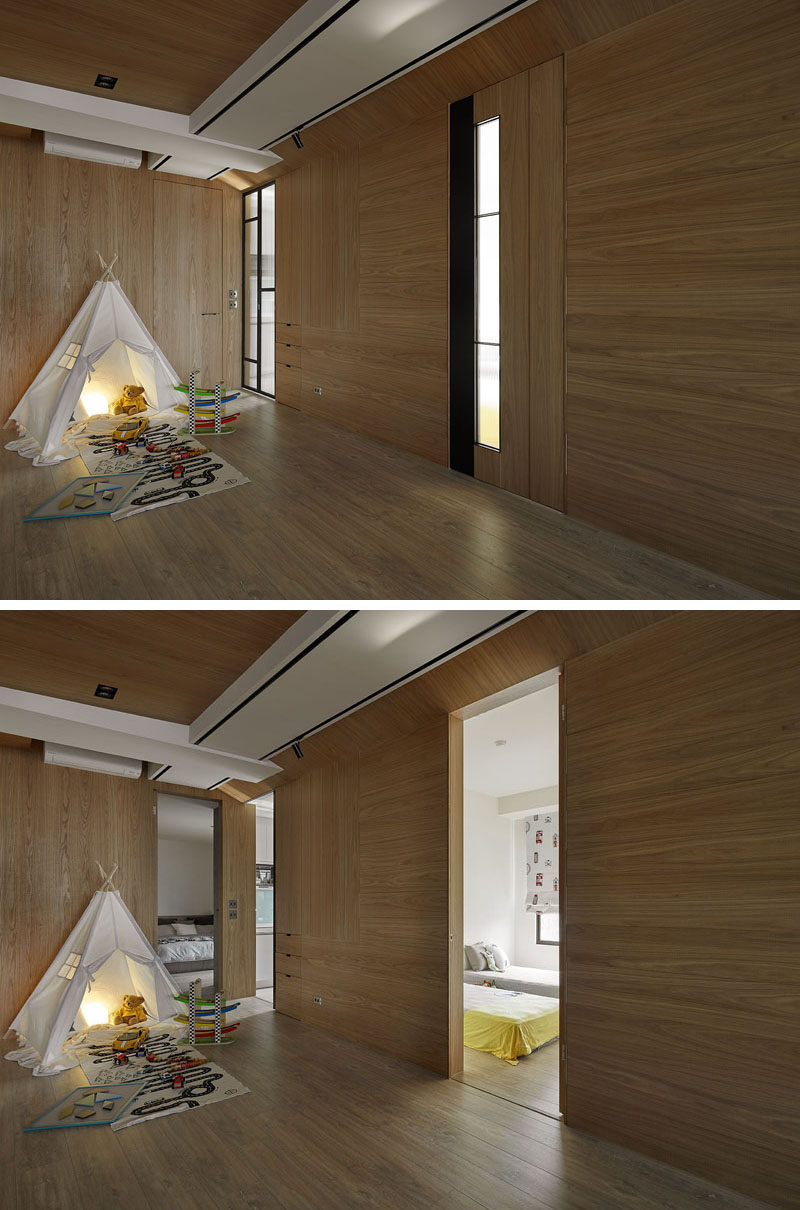 In this apartment and off to the side of the play area, there are somewhat hidden doors that when open reveal the master bedroom on the left, the kitchen in the middle and the children's bedroom on the right.