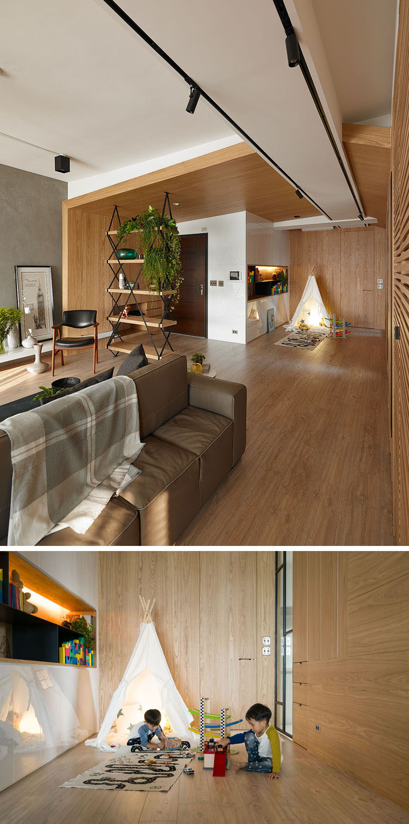 This apartment for a family has a play zone for the children including built-in storage unit and open shelving.