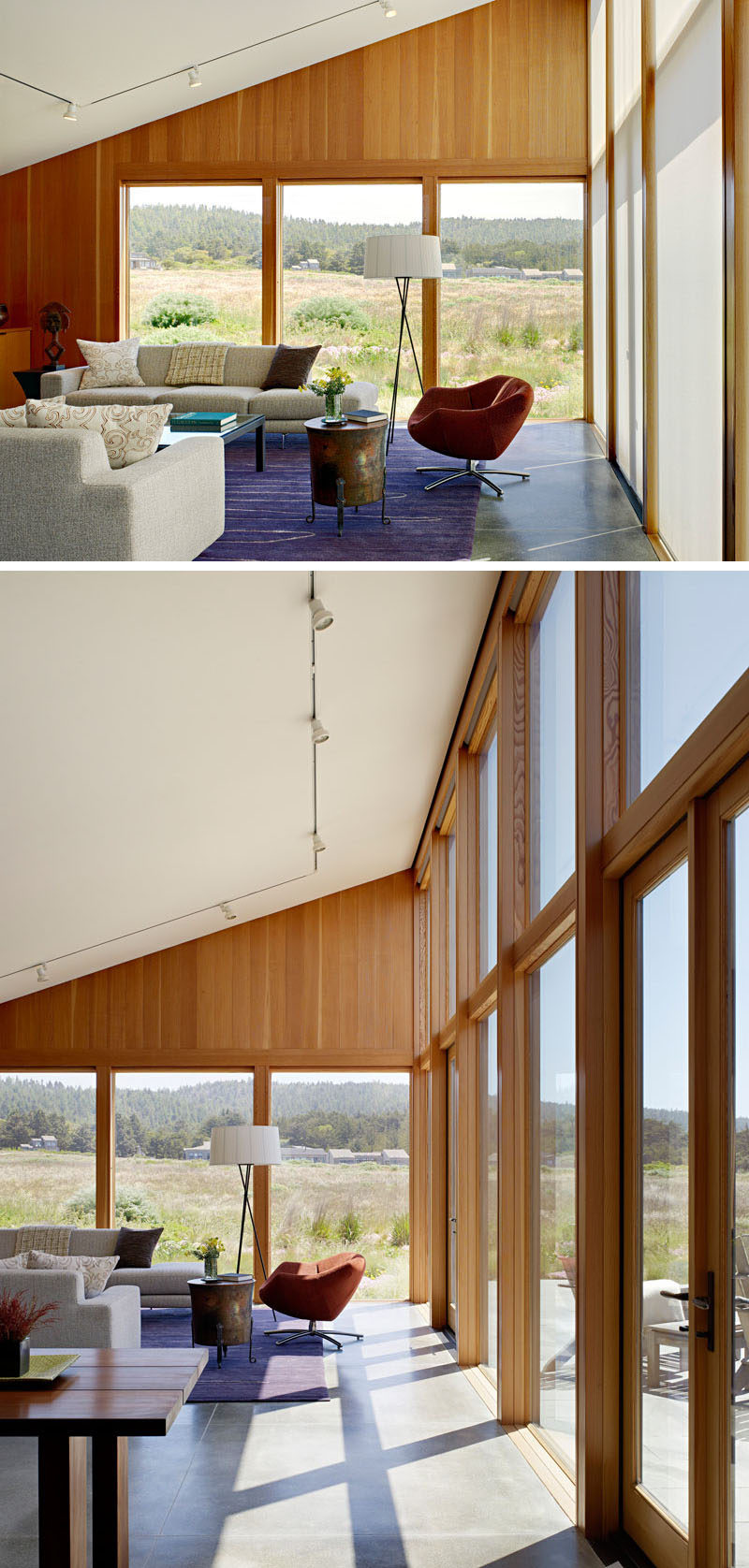 Large wood framed windows frame the views and fill the space with natural light.