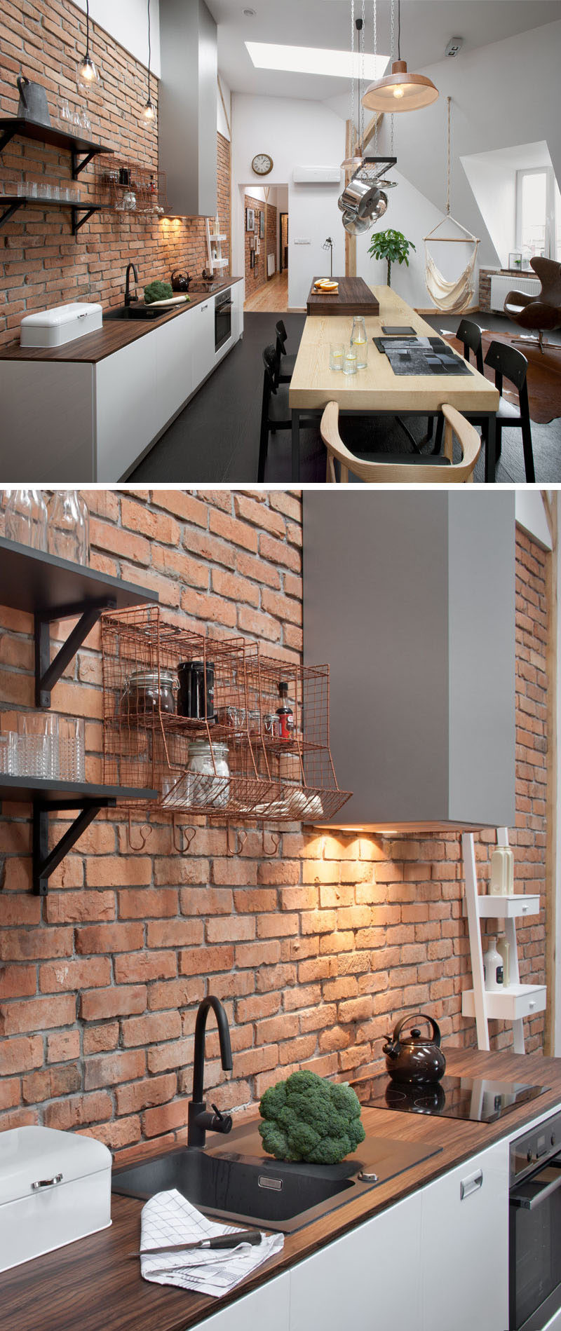 Throughout the apartment there are bright white walls, touches of brick and wood, which all pair nicely with the wood and dark charcoal gray tiled flooring.