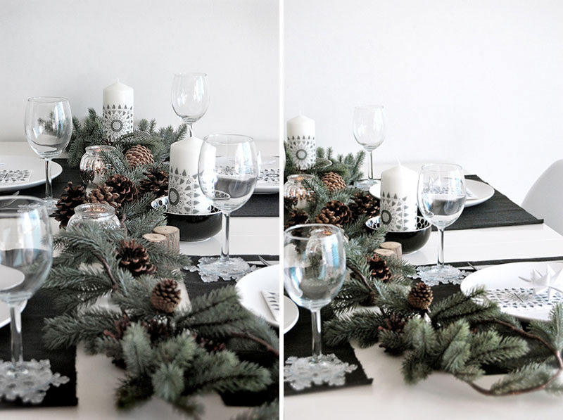 15 Inspirational Ideas For Creating A Modern Christmas Table Full Of Natural Elements // Collect a few pieces of greenery, berries, twigs, and pine cones, and arrange them down the middle of your table, adding in a few candles here and there, to make an inexpensive and seasonal centerpiece.