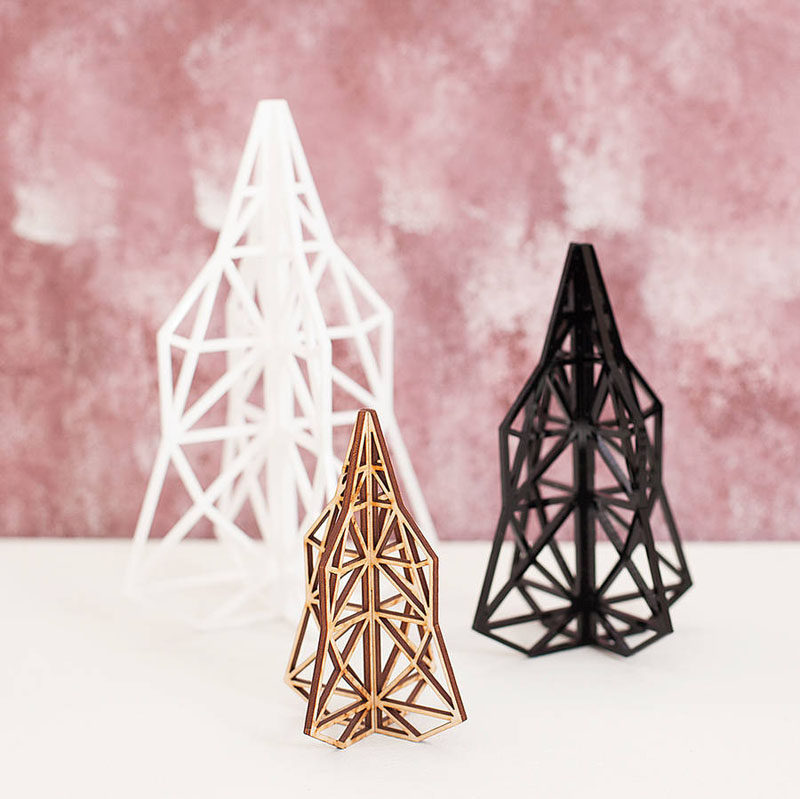 30 Modern Christmas Decor Ideas For Your Home // Go for a more abstract look with these geometric cut out trees.