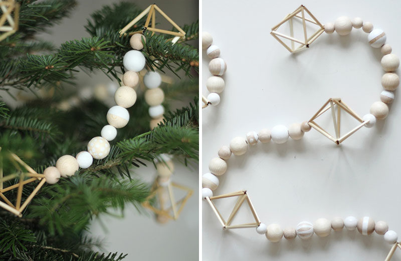 30 Modern Christmas Decor Ideas For Your Home // Wooden beads and himmelis on this DIY garland give it a Scandinavian look and help create a natural and modern piece of Christmas decor.