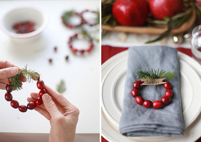 15 Inspirational Ideas For Creating A Modern Christmas Table Full Of Natural Elements // Mini wreaths made from cranberries with a bit of greenery attached to the top and a small piece of paper with a name on it, makes for a festive name card and beautiful addition to to the table.