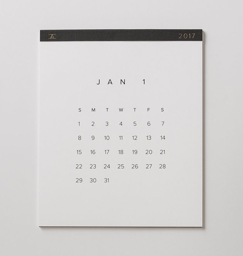 13 Modern Wall Calendars To Get You Organized For 2017 // Perfect for super minimalists, this calendar has the bare minimum when it comes to details so you won't feel overwhelmed by lines or designs.