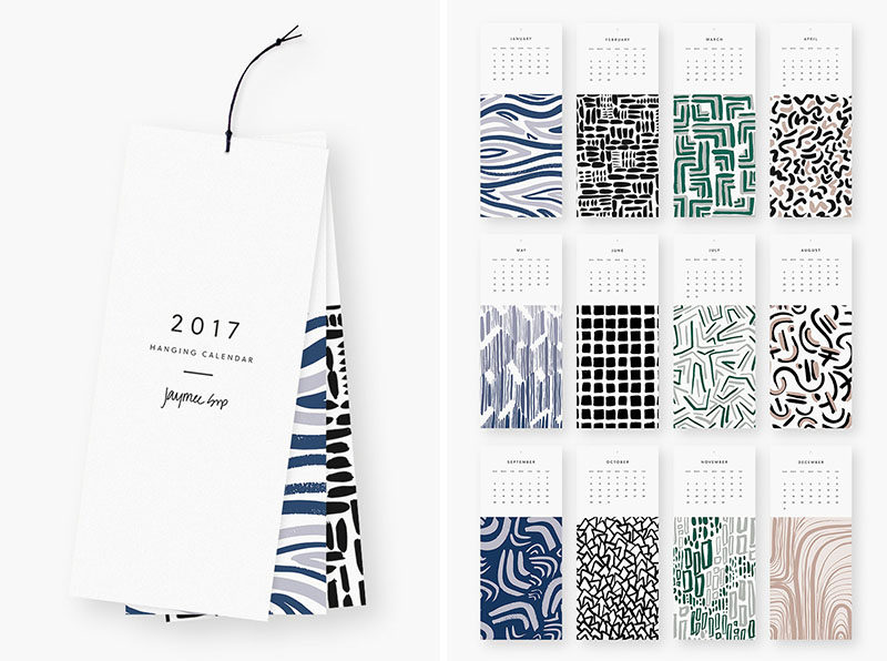 13 Modern Wall Calendars To Get You Organized For 2017 // Each month of this calendar has a different artistic print at the bottom that can be cut off at the end of the month and hung to be used as art.