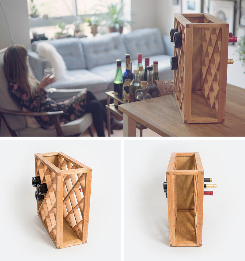 13 Wine Bottle Storage Ideas For Your Stylish Home // Trick your guests by storing your wine in this wine rack that makes parts of the bottles seem to disappear.