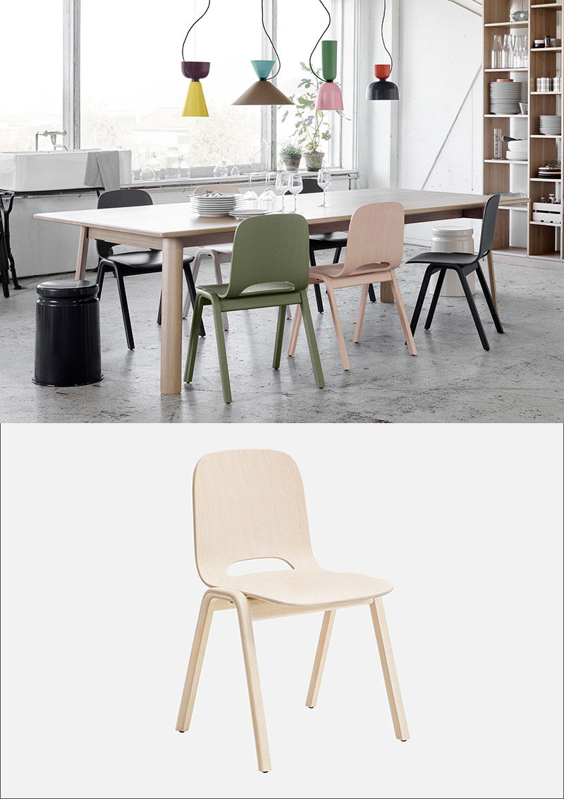 Furniture Ideas - 14 Modern Wood Chairs For Your Dining Room // The small cut out at the back of these wood chairs adds an interesting touch to an otherwise simple modern design.