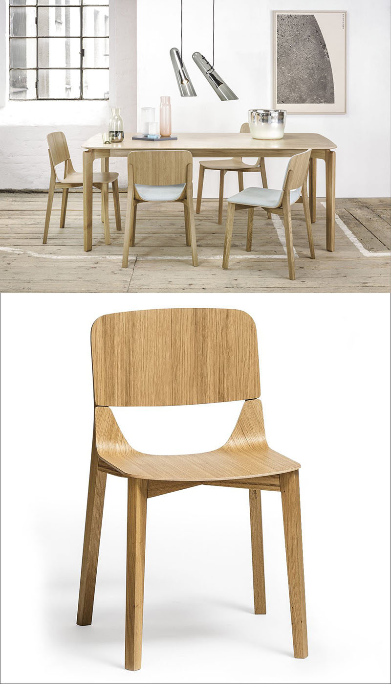 Furniture Ideas - 14 Modern Wood Chairs For Your Dining Room // Two pieces of solid bent wood give this chair a unique look and a strong, stable feel.