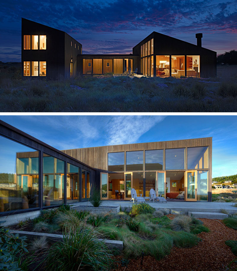 Malcolm Davis Architecture have designed a contemporary wooden home in California, that features a calm and relaxing interior with large windows.