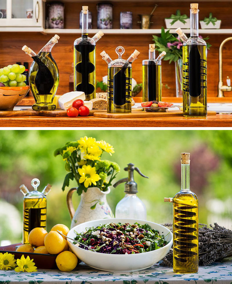 Essential Kitchen Tools - 11 Creative Oil & Vinegar Dispensers // Two-in-one oil and vinegar dispensers with creative designs make for functional kitchenware that also double as art.