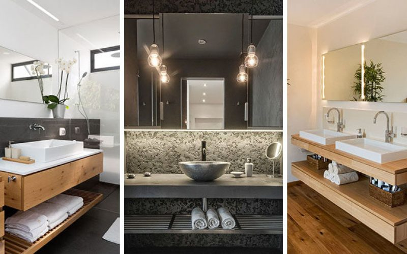 Bathroom Design Idea – An Open Shelf Below The Countertop (17 Pictures)