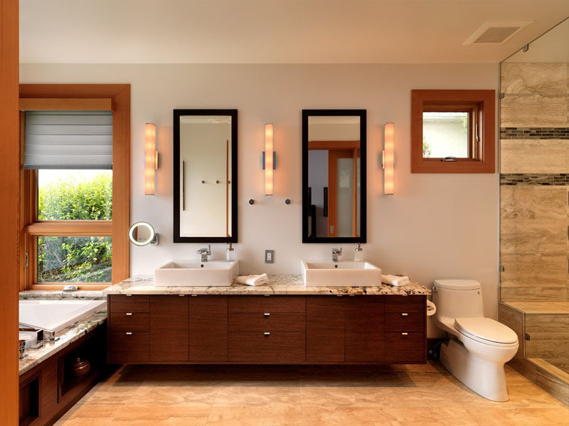 5 Bathroom Mirror Ideas For A Double Vanity // Two rectangular mirrors adds height to the bathroom and lets each person have their own space.