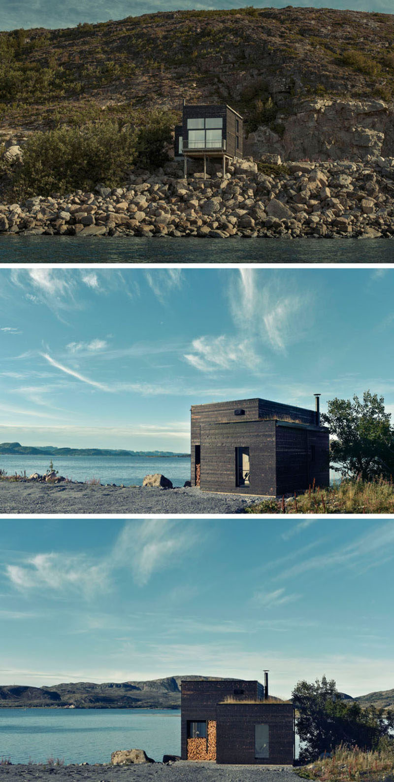 11 Small Modern House Designs // Tucked into the rocks of the Norwegian coast, this small dark wood home is just big enough to create a cozy space for one or two people.