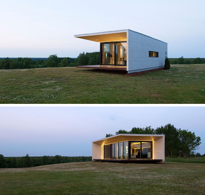 11 Small Modern House Designs // This small single level home features a modern design that makes it stand out from the rest of its natural surroundings.