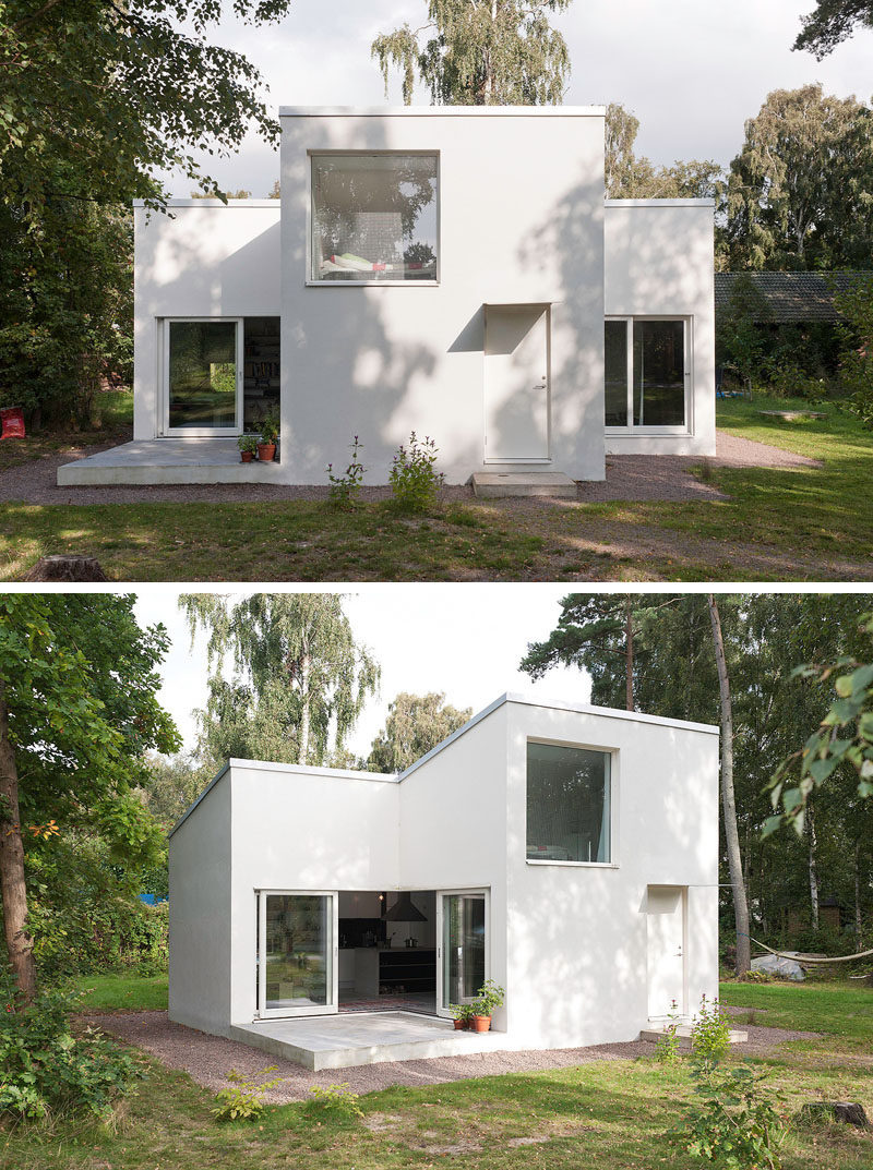 11 Small Modern House Designs // The bright white color of this small summer house makes it stand out against the greenery of the surrounding area and gives it a contemporary look.
