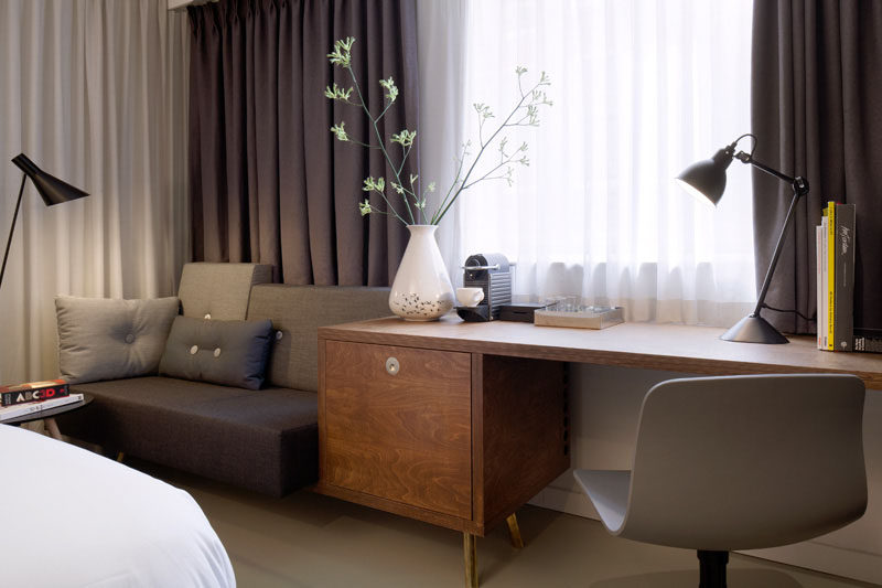 Hotel Room Design Ideas To Use In Your Own Bedroom // Include a small writing desk.