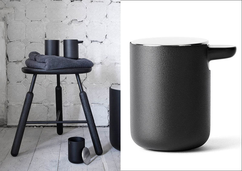 Bathroom Decor Ideas- Sophisticated Soap Dispensers // This black soap dispenser is the perfect addition to any modern bathroom that needs a touch of sophistication added to it.