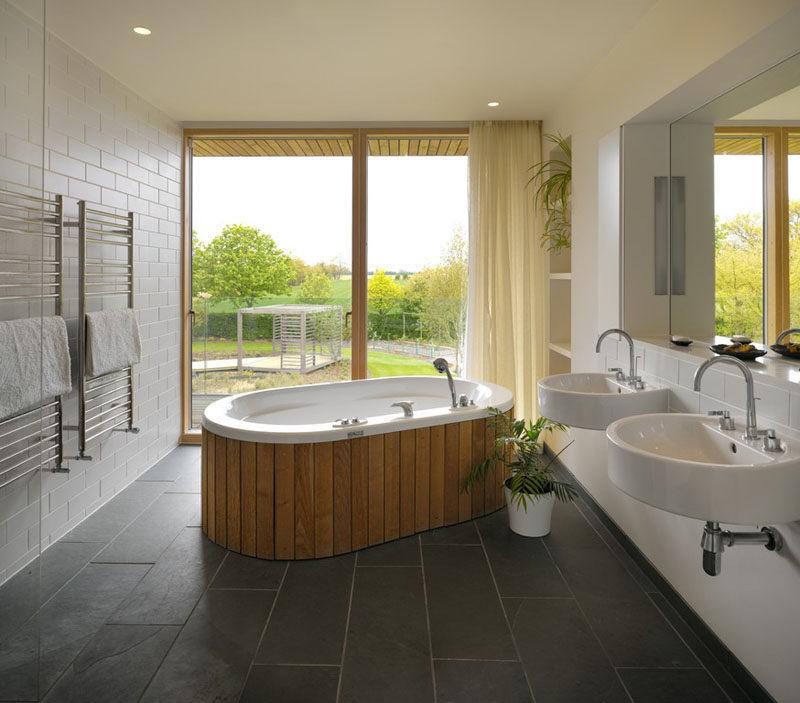 Bathroom Design Idea - Create a Spa-Like Bathroom At Home // Install a luxurious deep soaker tub.