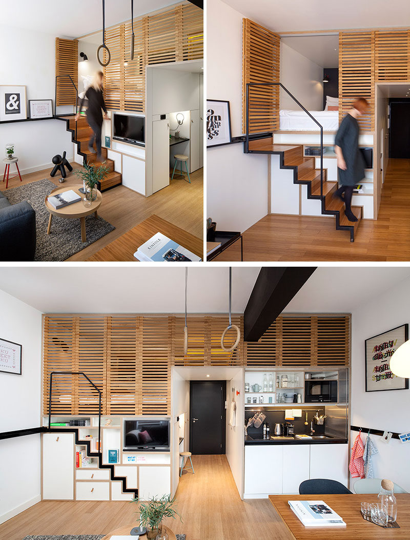13 Stair Design Ideas For Small Spaces // This stair case pulls out when it's needed but tucks back into the wall when it isn't. This creates more space in the apartment but still makes getting up to the sleeping area easy.