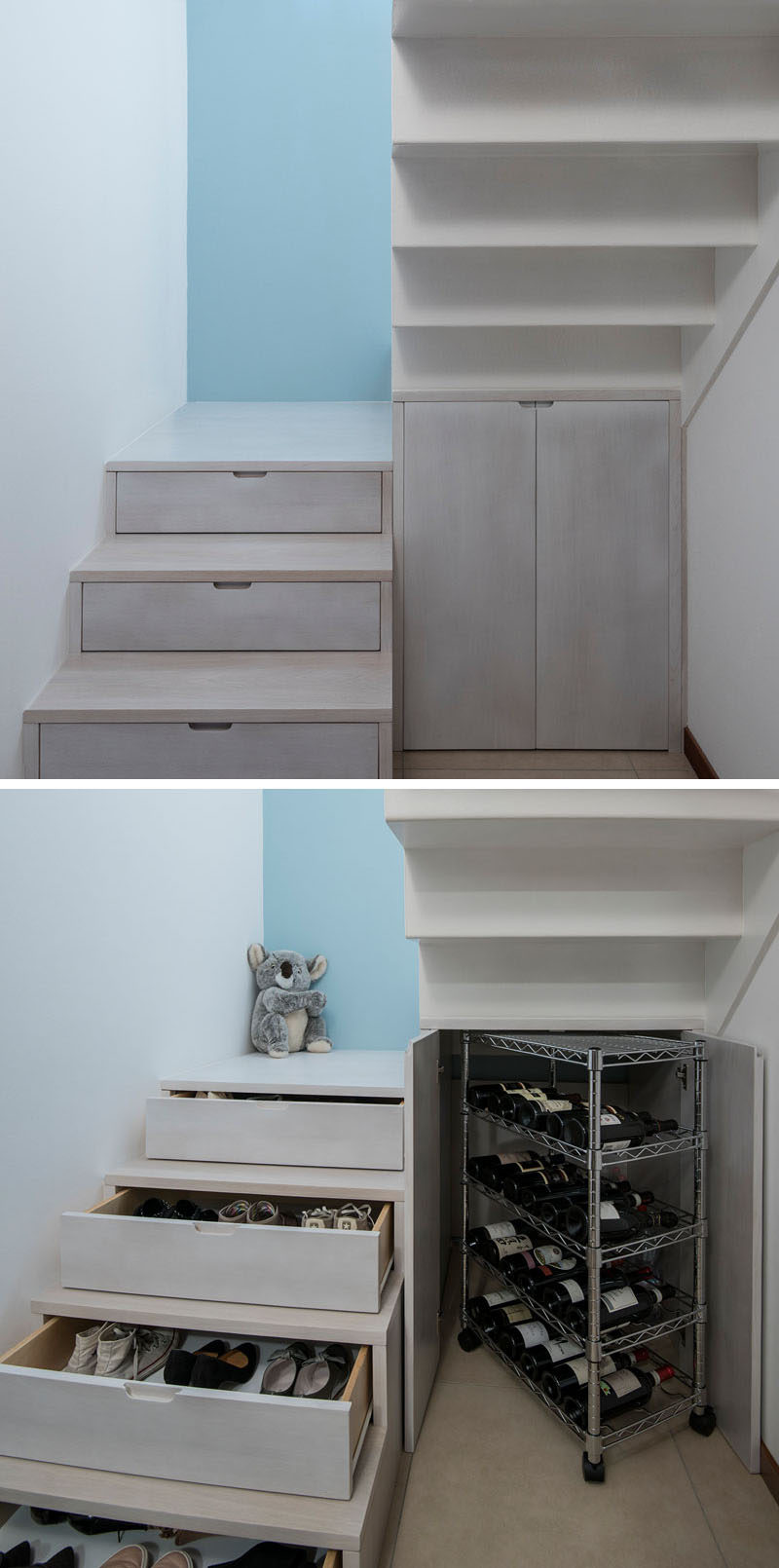 Stairs Design Idea - Hide Shoe And Wine Storage Within Your Stairs