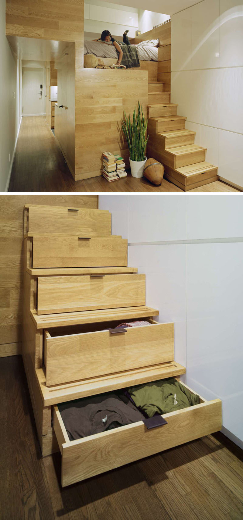 13 Stair Design Ideas For Small Spaces // The staircase leading to the loft bed in this apartment also doubles as clothing storage, taking care of two problems with one staircase.