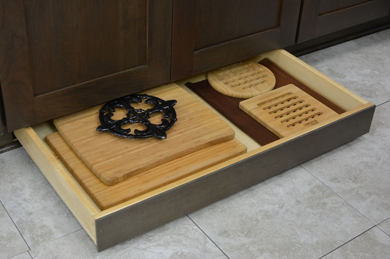 Kitchen Design Idea - Toe Kick Drawers // Storage for all your cutting boards, baking trays, pans and cooking essentials.