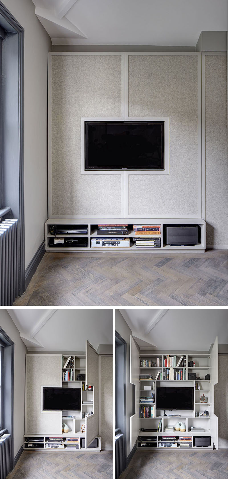 8 TV Wall Design Ideas For Your Living Room // Although this TV appears to be the only feature on this wall, two doors on either side of it open up to reveal walls full of hidden shelving.