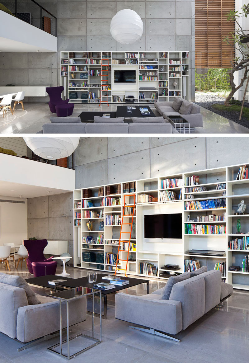 8 TV Wall Design Ideas For Your Living Room // The built in shelving unit in this house has a spot right in the middle that's just the right size for the TV.