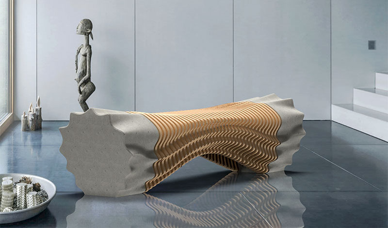 Industrial design student Tianzhu Zhang, has created an industrial inspired wood and concrete bench using robotic fabrication methods.