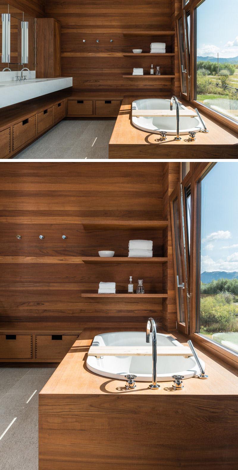 Bathroom Design Idea - Create a Spa-Like Bathroom At Home // Include luxurious wood details.