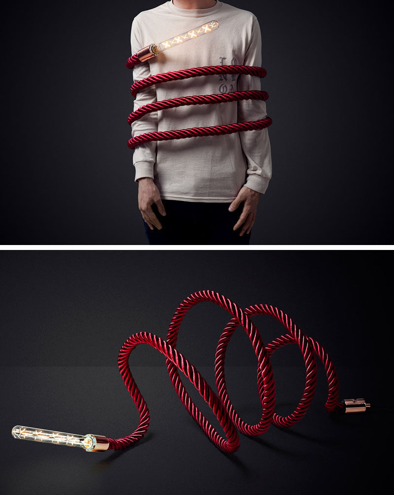 This unique lamp design includes a rope that can be bent or twisted into different shapes