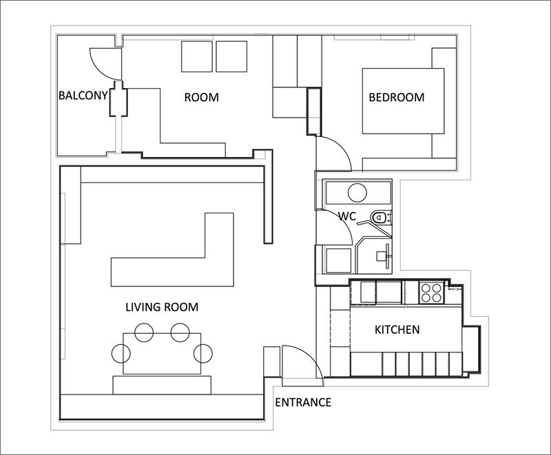 Here's the floor plan of a contemporary two bedroom apartment.