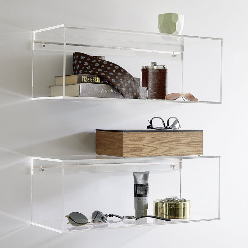 5 Ways To Use Acrylic Decor Throughout Your House // Bathroom - These clear acrylic shelves make your essentials appear to float.