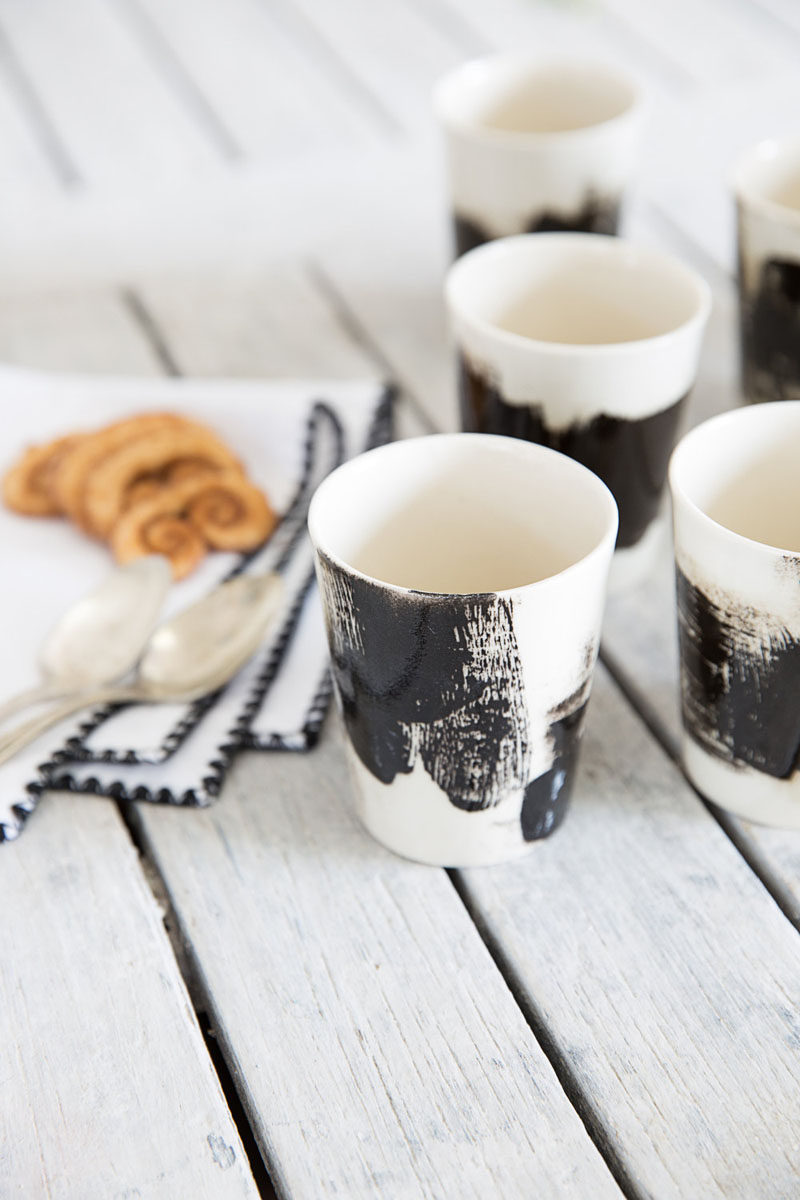 Home Decor Ideas - 6 Ways To Include Ceramic In Your Interior // Mini black and white ceramic espresso cups will have you wanting to drink coffee all day long.