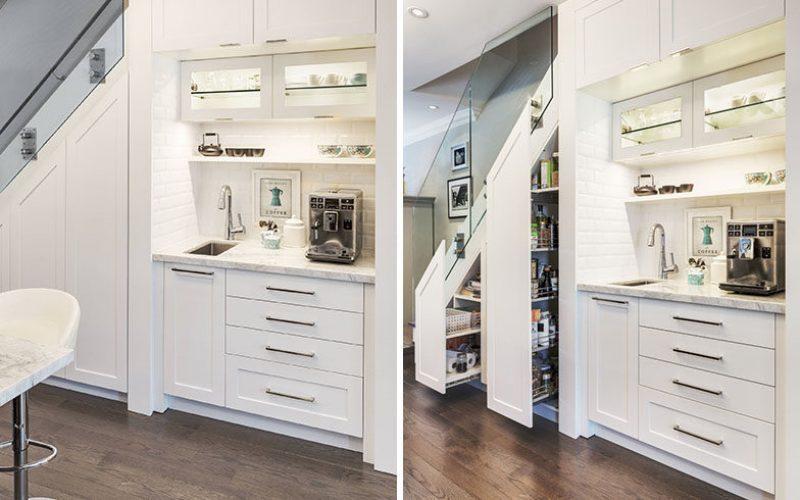 До и после – посмотрите, как этот дом добавил кофе и еды шкафа для хранения вещей под лестницей